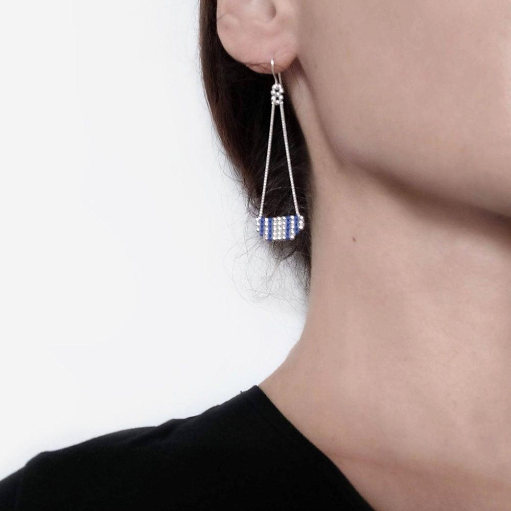 """Image of boucles d'oreilles pendantes Gris """"Inca"""""""