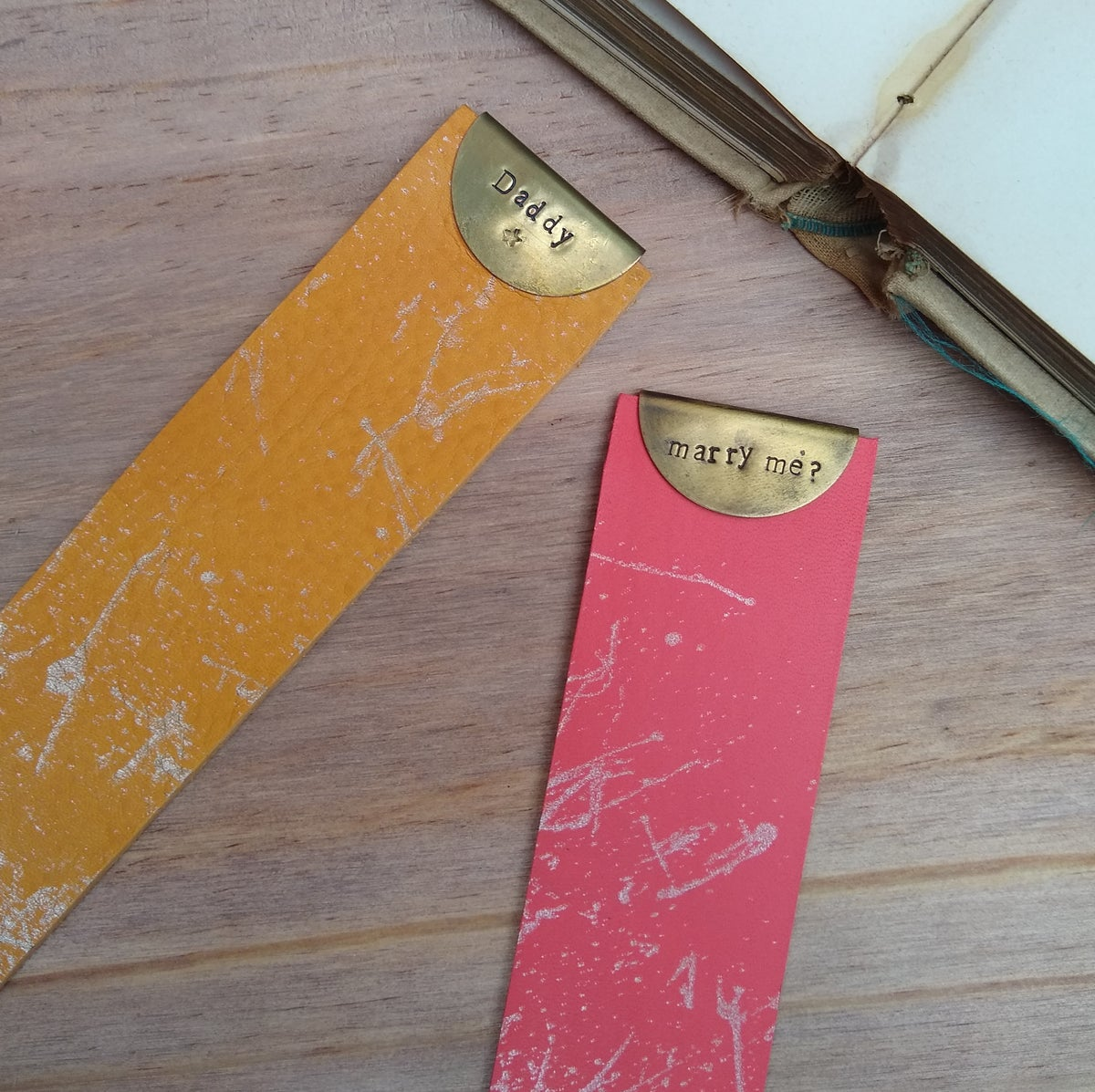 Image of Personalised Vegetable Tan Leather Bookmarks