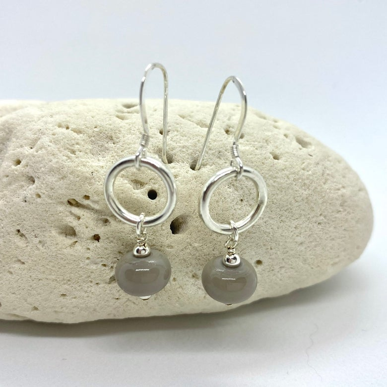 Image of Opaque Soft Grey Ring Dangle Earrings