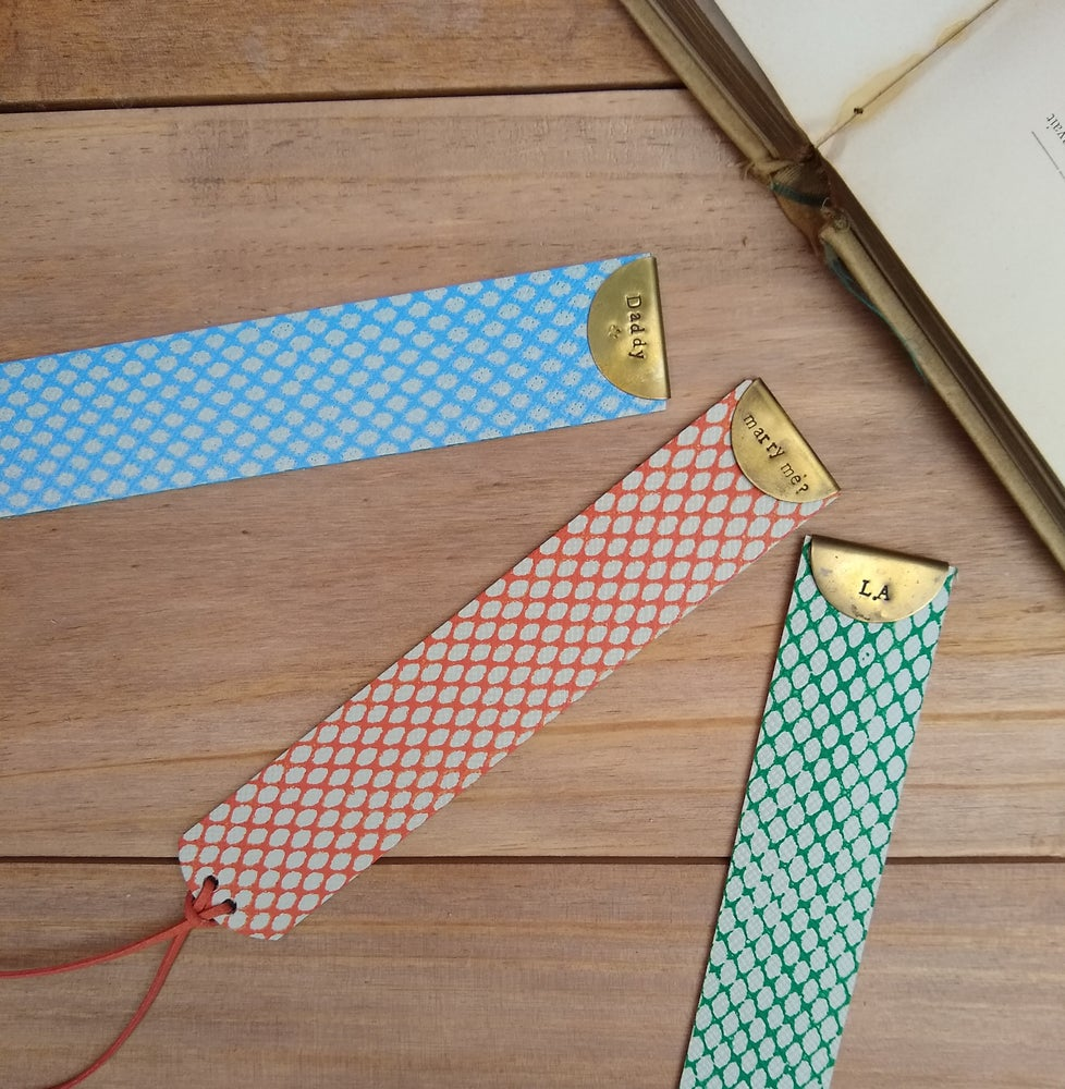 Image of Personalised Brass + Leather Bookmark