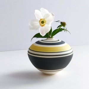 Image of Mini Yellow, Black & White Banded Vessel