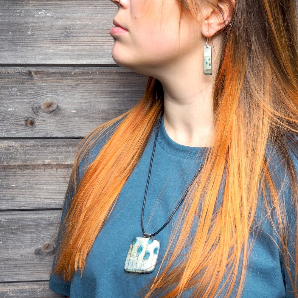 Image of Contemporary Porcelain Statement Necklace, Handmade Pendant, Blue Seed-heads(Squared)