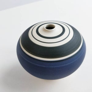 Image of Mini Purple, Black & White Banded Vessel
