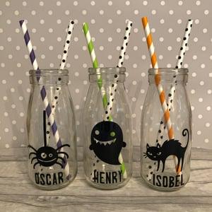 Image of Halloween Glass Milk Bottle