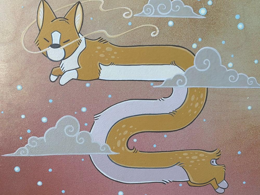 Image of Corgi Dragon - Original Painting