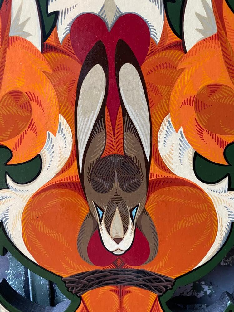 Image of Fox Fleur de Lis - Original Cutout Painting