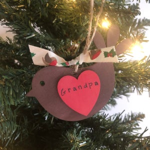 Image of Personalised Wooden Robin Decoration