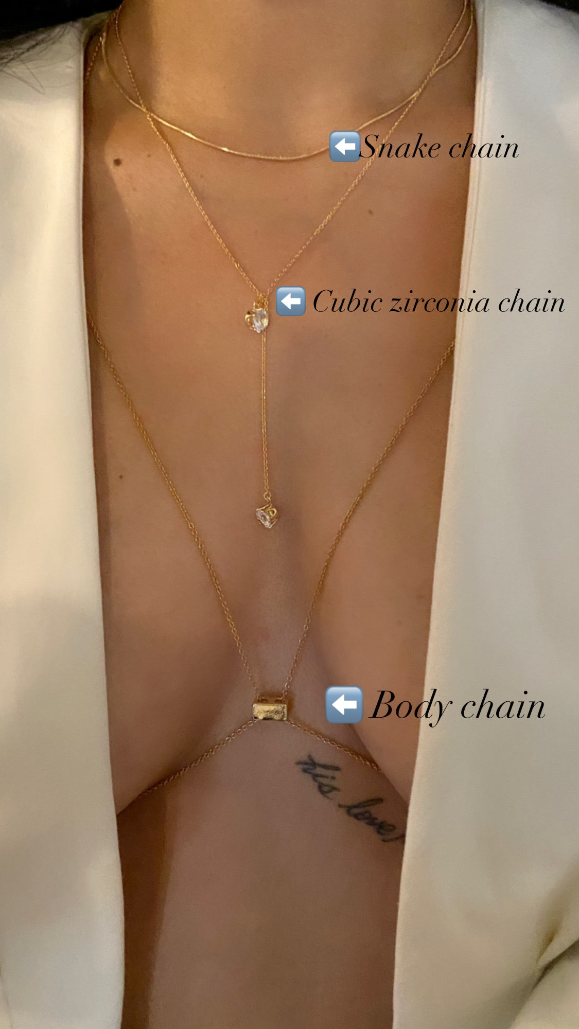 Image of BODY CHAIN | CUBIC ZIRCONIA CHAIN | SNAKE NECKLACE