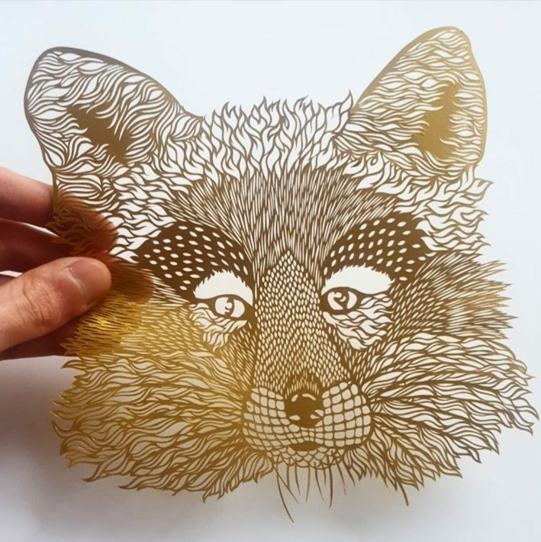 Image of Framed Fox Paper Cutting