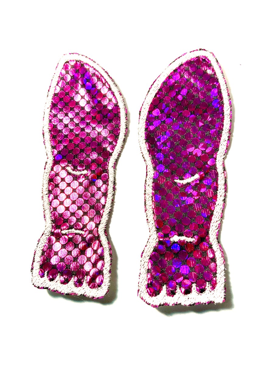 Image of Pink Holographic Doll Leg Patches