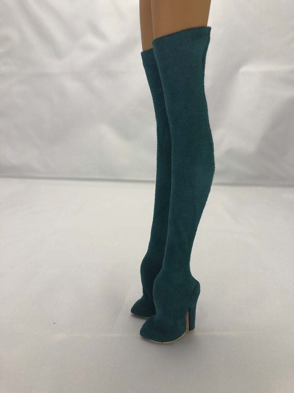 Teal Suede Thigh High Boots: Pidgin Doll P4