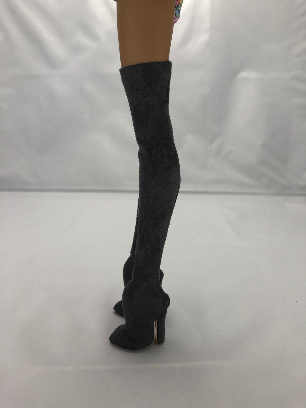 Gray Suede Thigh High Boots: Pidgin Doll  P1