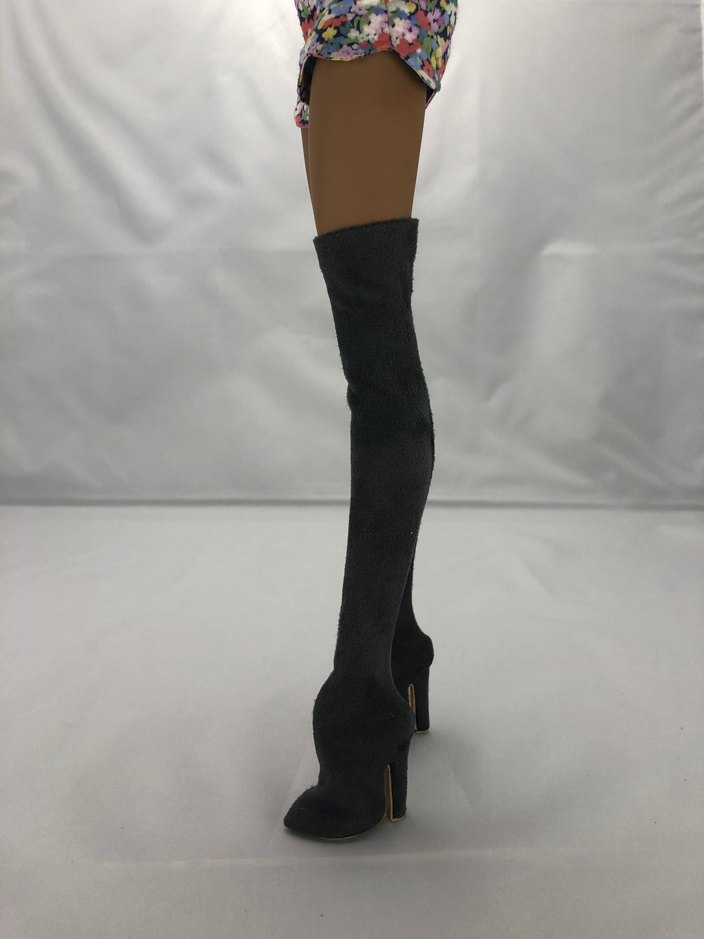 Gray Suede Thigh High Boots: Pidgin Doll  P2