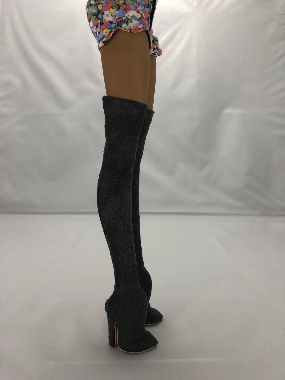 Gray Suede Thigh High Boots: Pidgin Doll  P3