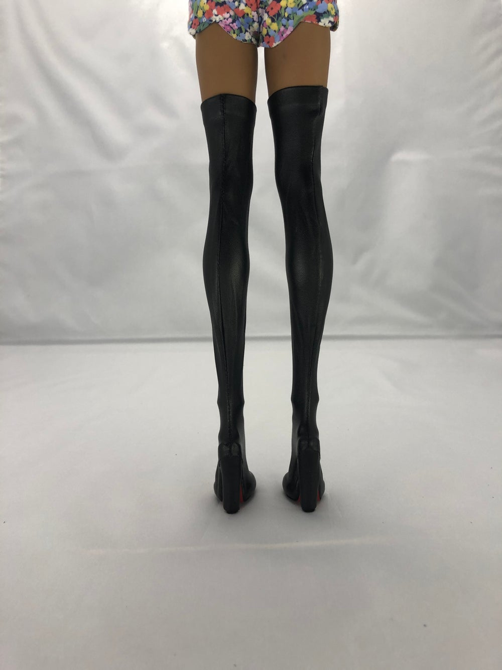Black Leather Thigh High Boots Red Sole: Pidgin Doll