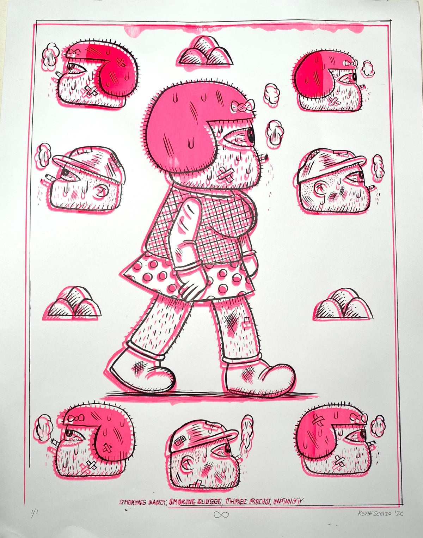 Image of Pink Smoking Nancy Misprint Screen Print With Drawing