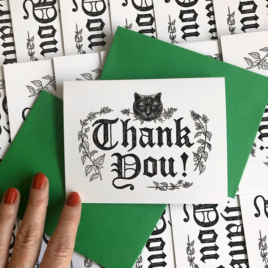 Image of Black Cat Thank You Card