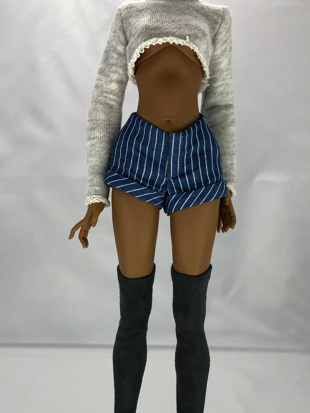 Pinstripe Cuff Shorts: Pidgin Doll