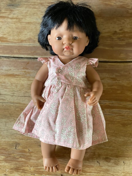 Image of Liberty wrap dress to suit 38cm Miniland doll - Pink Capel