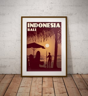 Image of Vintage poster Indonesia - Bali - Kuta Beach | Wall Art Decor | Travel Poster | Fine Art Print