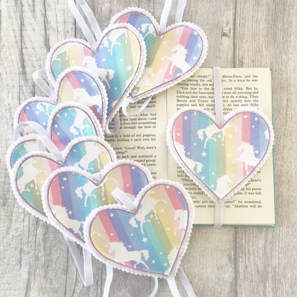 Image of Fiver Friday Unicorn Heart Bookmarks