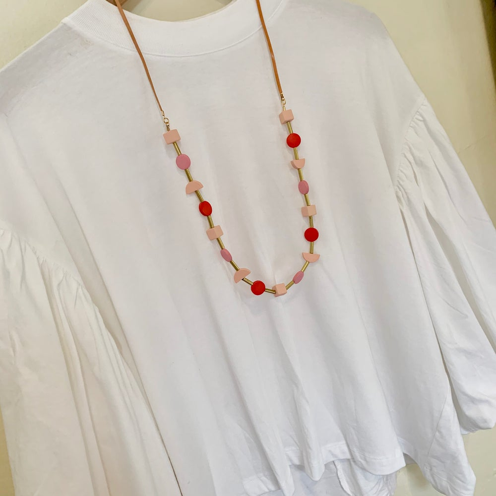 Image of Pink Peach and Red Shapes Necklace
