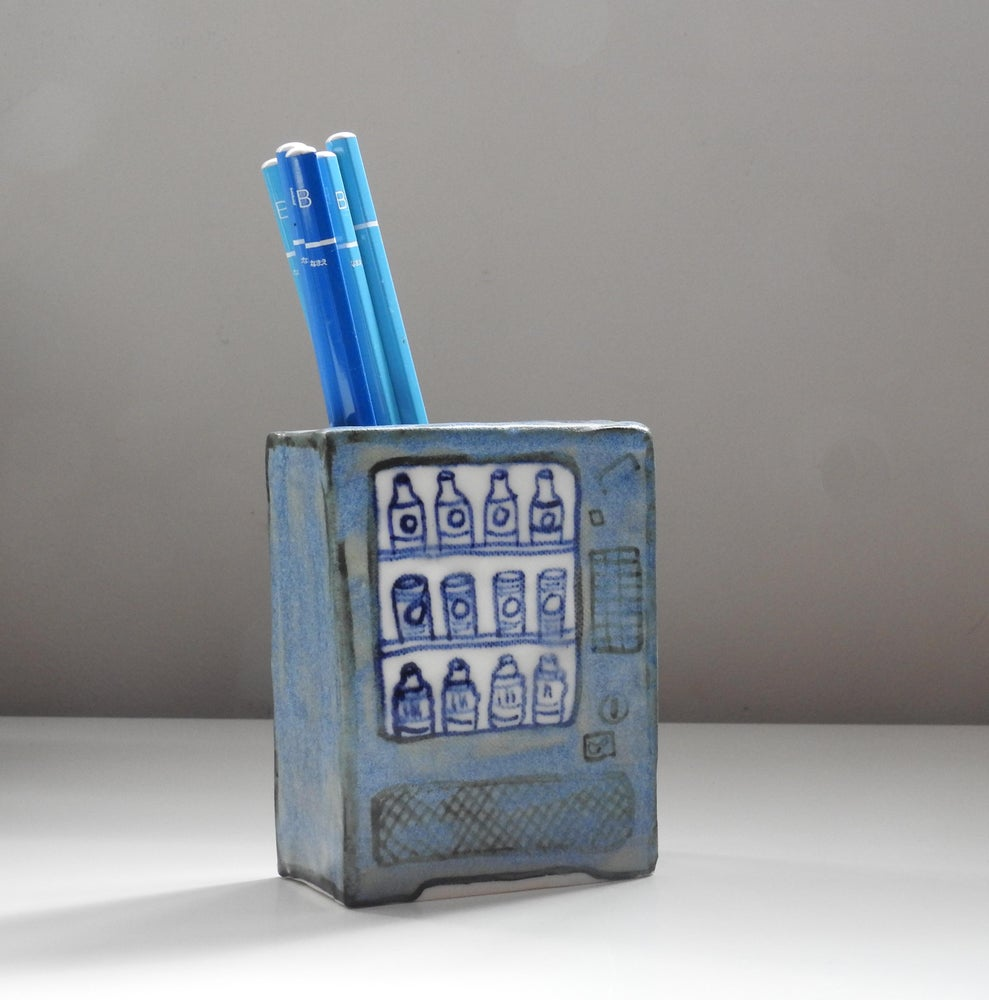Image of matt blue vending - small vase