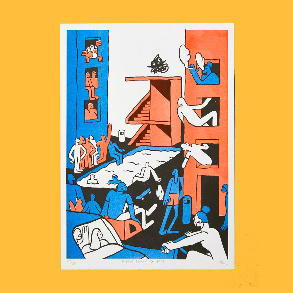 """Public Swimming Pool"" A3 Risograph Print"