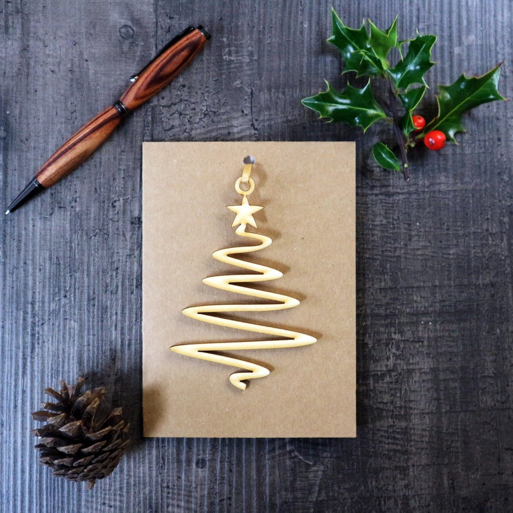 Image of Christmas Card with Woodcut Tree Decoration
