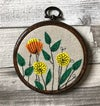 Floral Embroidery hoop Yellow and orange