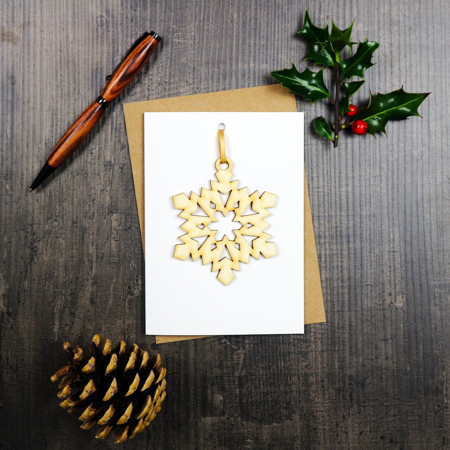 Image of Christmas Card with Woodcut Snowflake Decoration