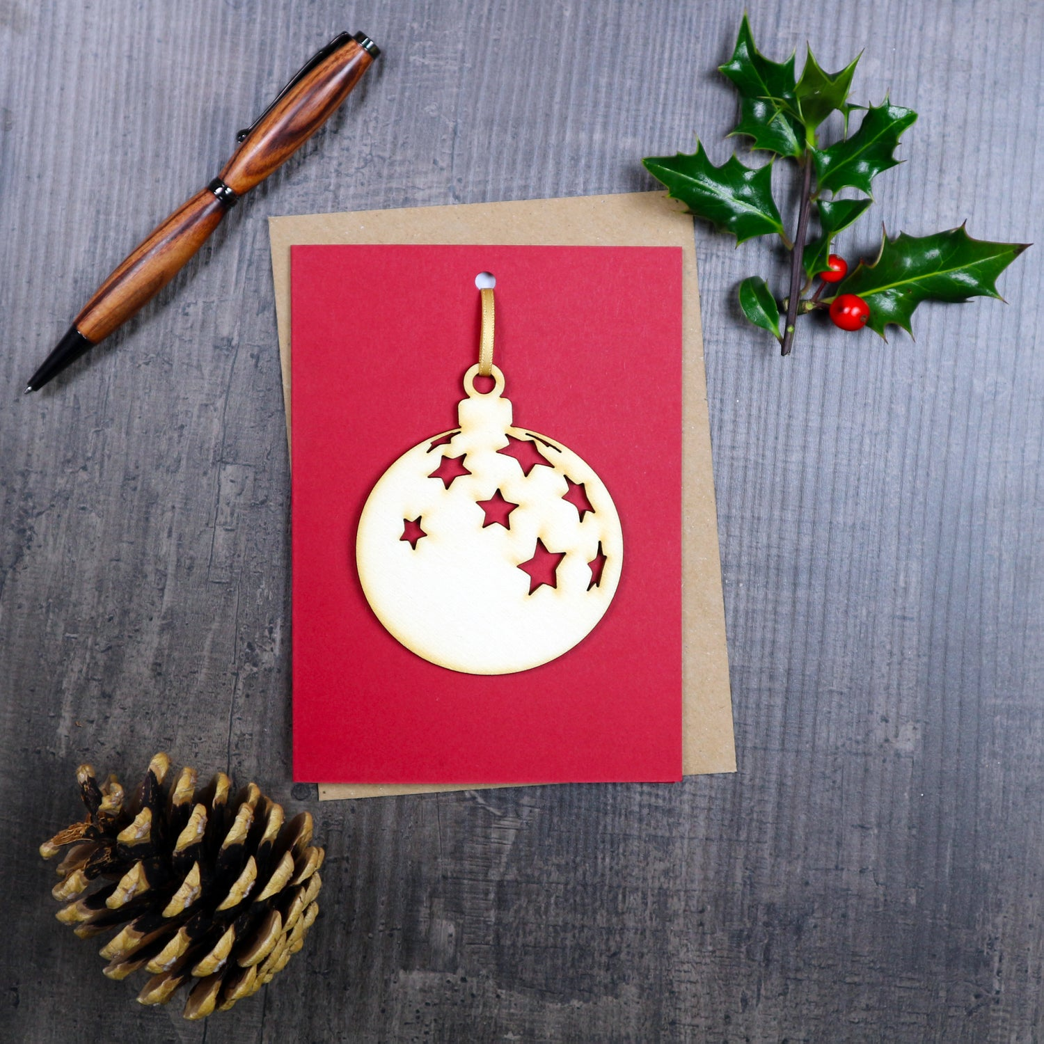 Image of Christmas Card with Woodcut Bauble Decoration
