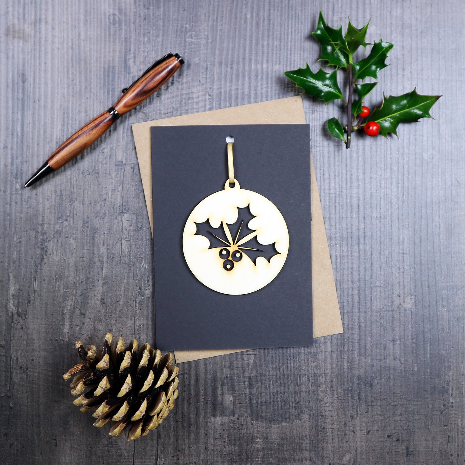 Image of Christmas Card with Woodcut Holly Decoration