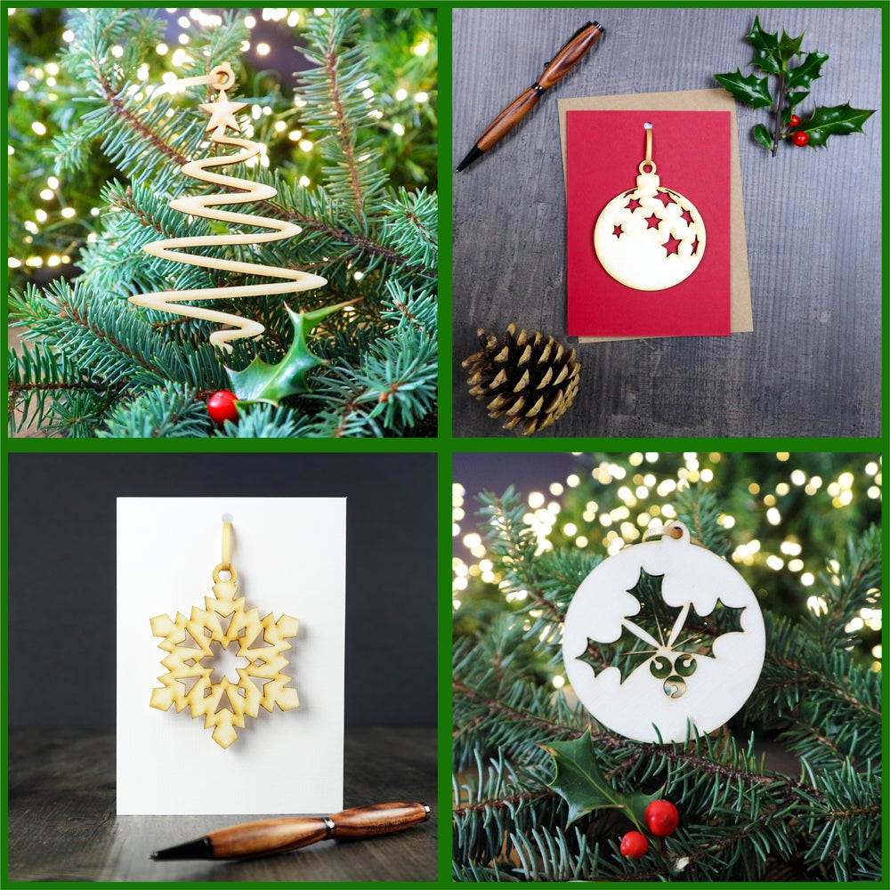 Image of Set of 4 Christmas Cards with Woodcut Decorations