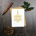 Set of 4 Christmas Cards with Woodcut Decorations