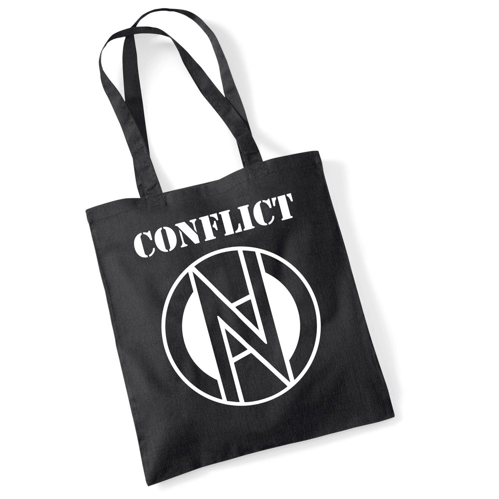 Image of CONFLICT tote bag with the Mortahate logo