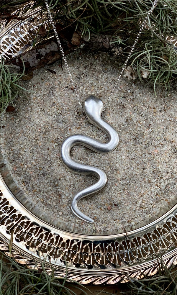 Image of XL SERPENT NECKLACE ANTIQUE BRUSHED SILVER