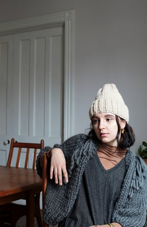 Image of Perth Cardigan w/ Fringe (shown in Charcoal- more colours)