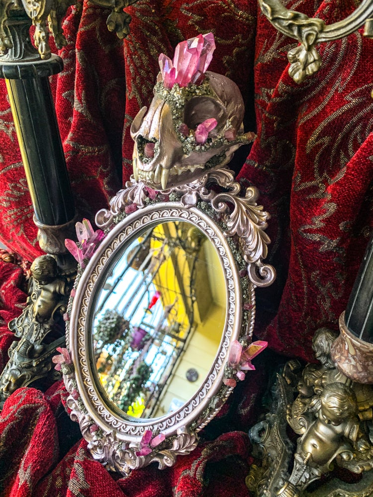 Image of Rose Gold, Pink Tourmaline & Pink Aura Quartz - Bobcat Skull Mirror