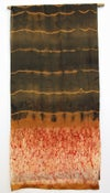 Roots of Fire - ecoprint and plant dyed silk scarf