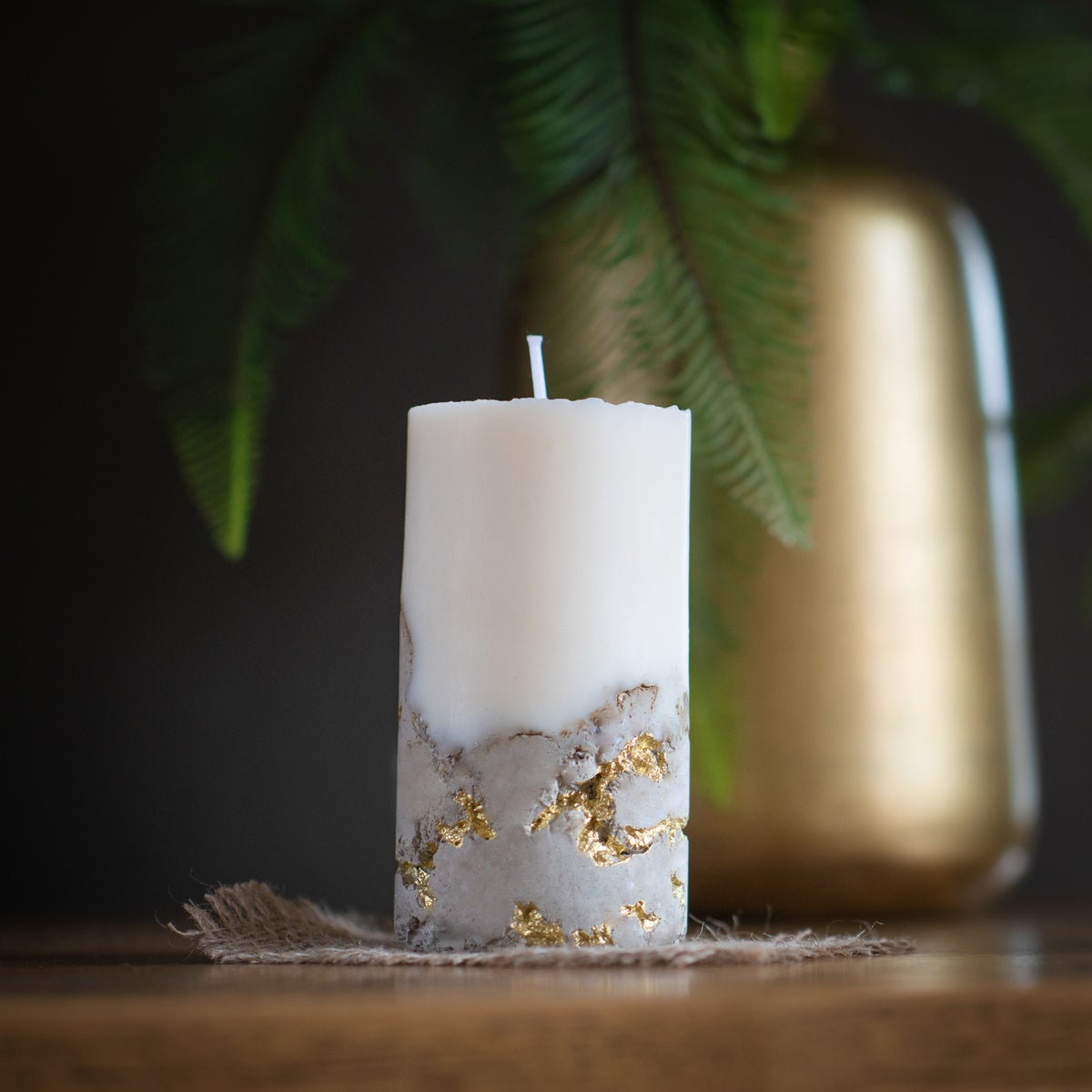 Soy Wax Concrete Candle - Gold Detail