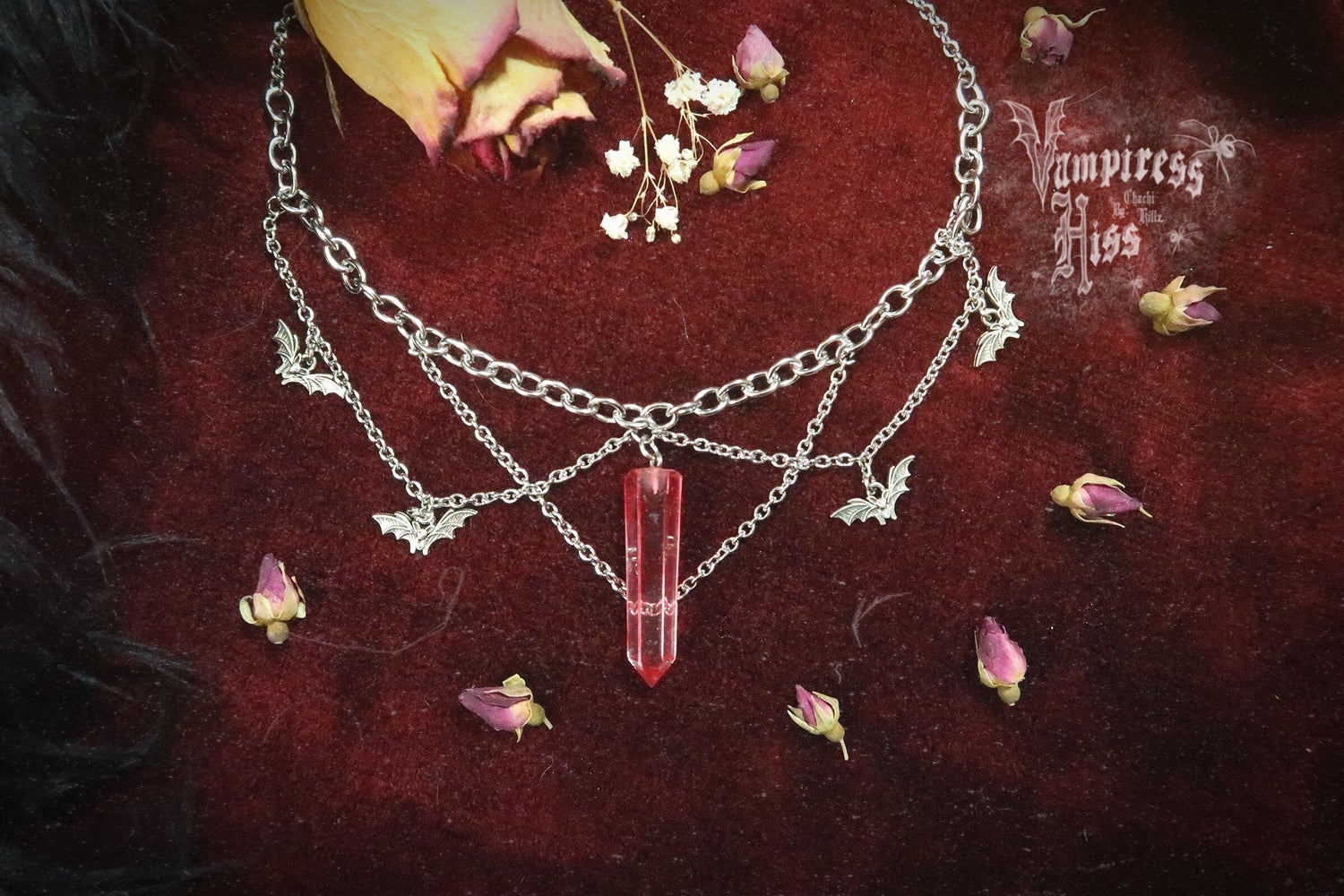 Image of VAMPICIDE | STAINLESS STEEL CHAINED BAT NECKLACE