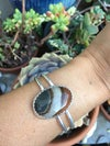 Banded Agate & Double Silver Band Cuff
