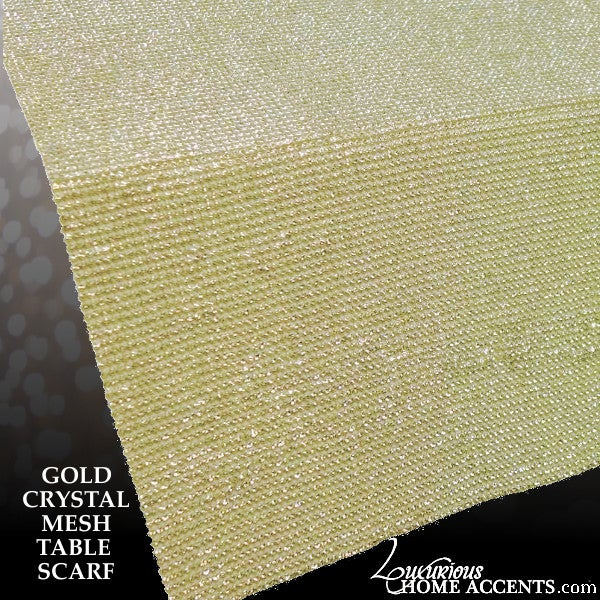 Image of Gold Crystal Mesh Scarf Table Runner