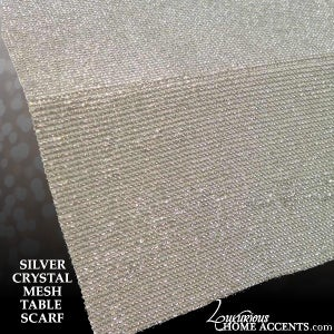Image of Silver Crystal Mesh Scarf Table Runner