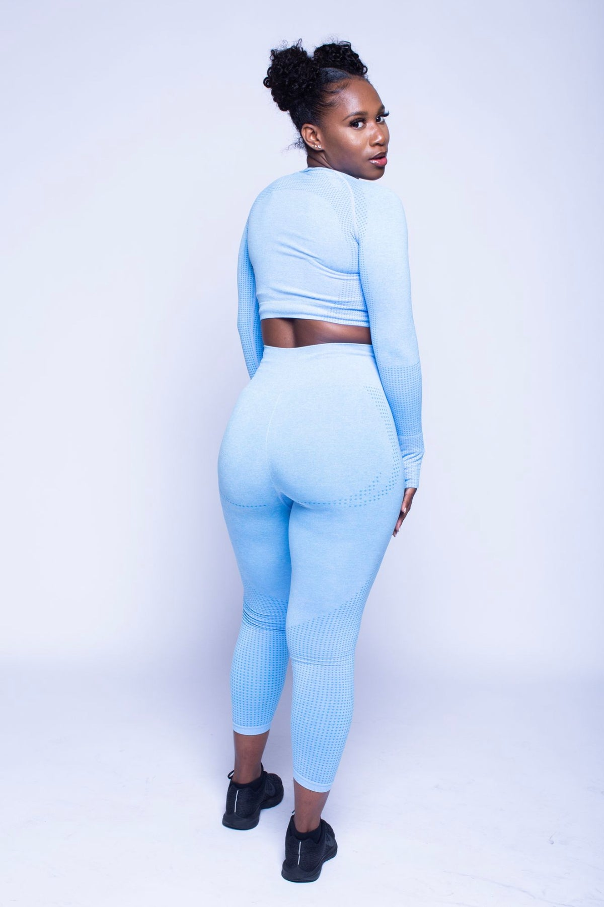 Image of Blue Bubble Yum - Seamless  Long Sleeve Crop