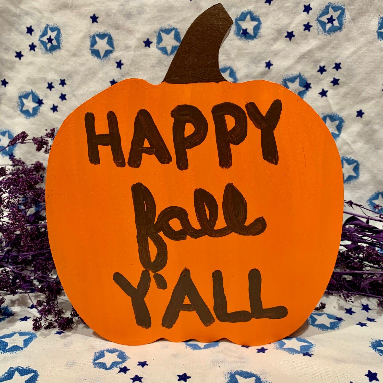 Happy Fall Y'all Wooden Pumpkin