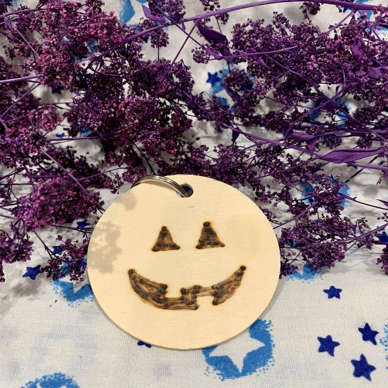 Jack-o'-lantern Wooden Keychain