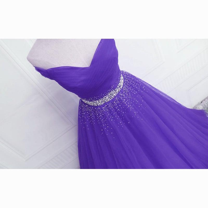 Beautiful Purple Beaded Off Shoulder Tulle Gown, Purple Prom Dress 2021