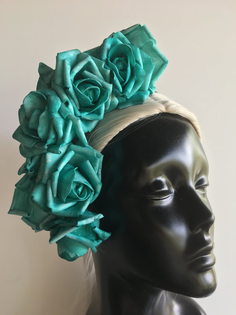 Image of Pale torquoise flower headpiece
